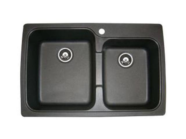 Astracast US20RZUSSK Offset Double Bowl Kitchen Sink, Metallic Black