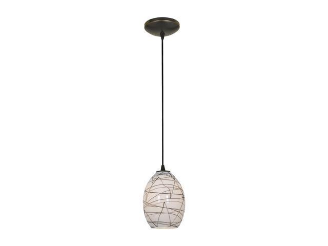 Access Lighting Sydney Ostrich FireBird Glass Pendant - 1 Light Oil Rubbed Bronze Finish w/ Black-White Glass