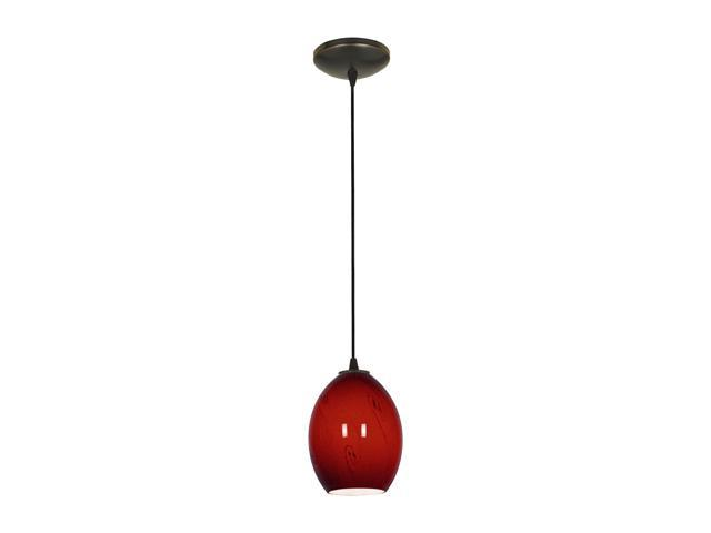 Access Lighting Sydney Ostrich FireBird Glass Pendant - 1 Light Oil Rubbed Bronze Finish w/ RUSKY Glass