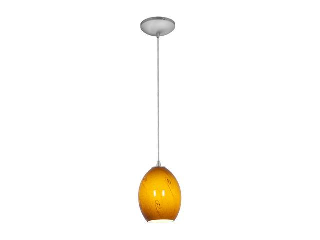 Access Lighting Tali Ostrich FireBird Glass Pendant - 1 Light Brushed Steel Finish w/ ASKY Glass