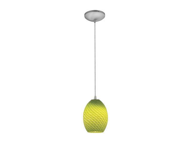 Access Lighting Tali Ostrich FireBird Pendant - 1 Light Brushed Steel Finish w/ Light Green Fire Bird Glass