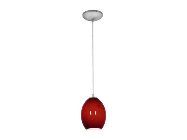 Access Lighting Tali Ostrich FireBird Glass Pendant - 1 Light Brushed Steel Finish w/ RUSKY Glass