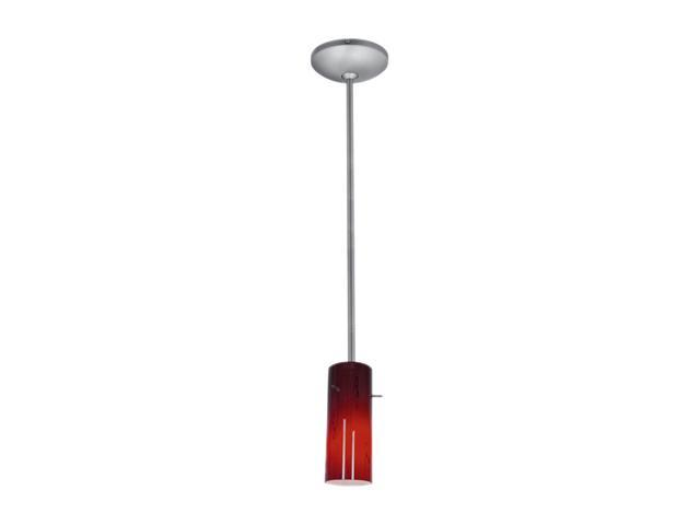 Access Lighting Tali Inari Silk Cylinder Glass Pendant - 1 Light Brushed Steel Finish w/ RUSKY Glass