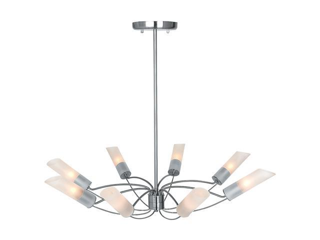 Access Lighting Solar Chandelier- 8 Light Brushed Steel Finish w/ Frosted Glass Brushed Steel 50509-BS/FST