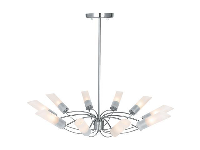 Access Lighting Solar Chandelier - 10 Light Brushed Steel Finish w/ Frosted Glass Brushed Steel 50510-BS/FST