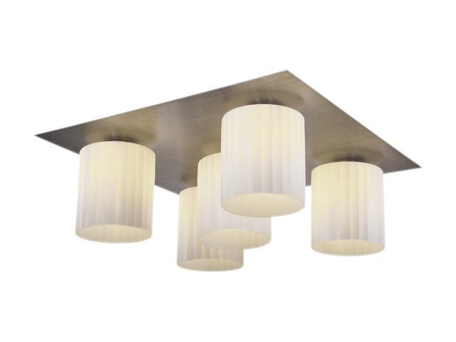 Access Lighting Leilah 5 Light Flush - 5 Light Brushed Steel Finish w/ White Glass Brushed Steel Flush Mount Lighting