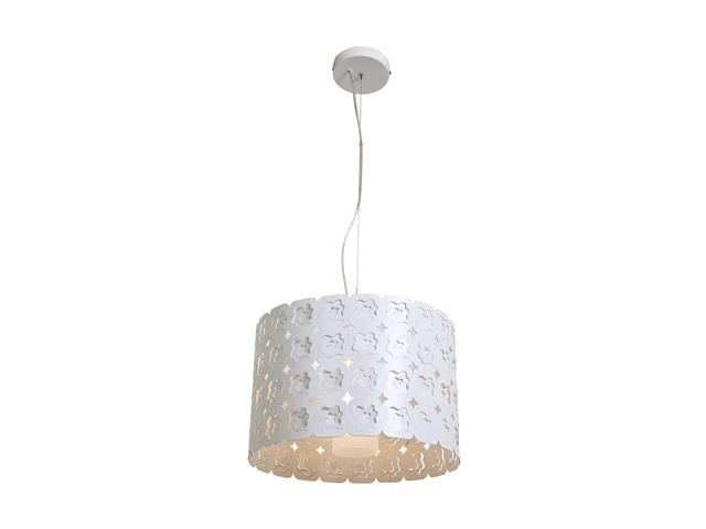 Access Lighting Lacey Laser Cut Metal Cable Pendant - 1 Light CremeFinish w/ Frosted Glass