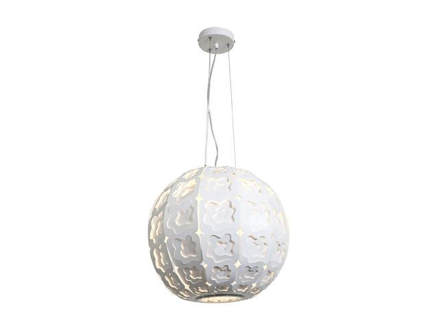 Access Lighting Lacey Laser Cut Metal Cable Ball Pendant - 1 Light CremeFinish w/ Frosted Glass