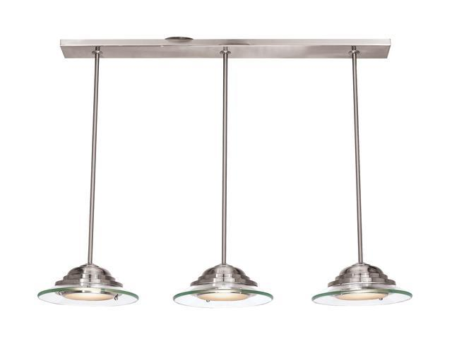 Access Lighting Phoebe 3 Light Brushed Steel Finish w/ 8mm Clear Glass Brushed Steel Semi Flush