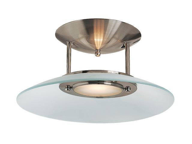 Access Lighting Argon 1 Light Brushed Steel Finish w/ Frosted Glass Brushed Steel Semi Flush