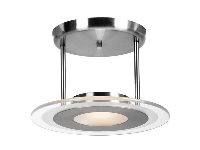 Access Lighting Helius 1 Light Brushed Steel Finish w/ Clear / Center Frosted Ring Glass Brushed Steel Semi Flush