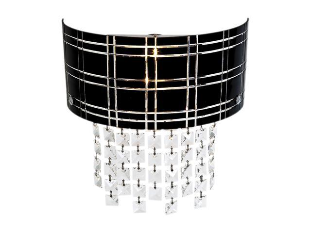 Access Lighting Kalista Wall Sconce with Crystal Drops - 2 Light Chrome Finish w/ Black Glass