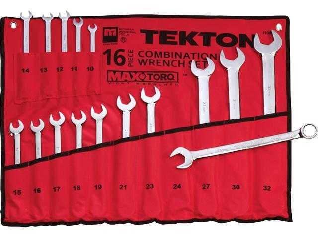 Tekton 1938 16-pc. MaxTorq  Combination Wrench Set (MM)