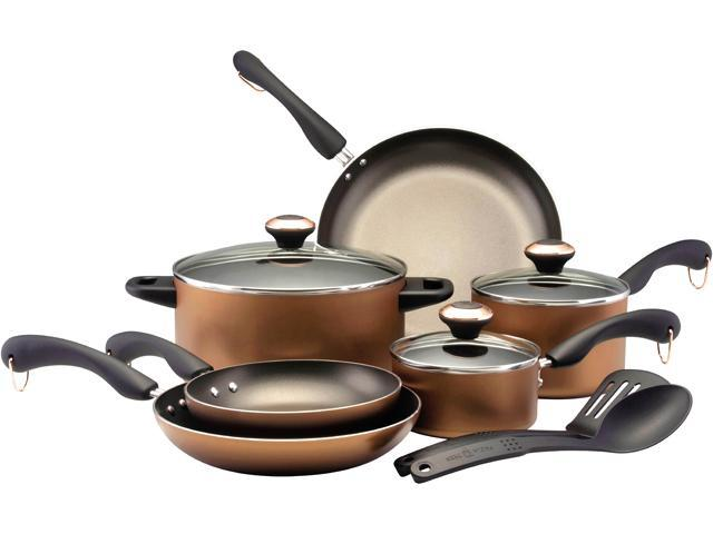 Paula Deen 21458 11- Piece Signature Dishwasher Safe Nonstick Cookware Set, Copper