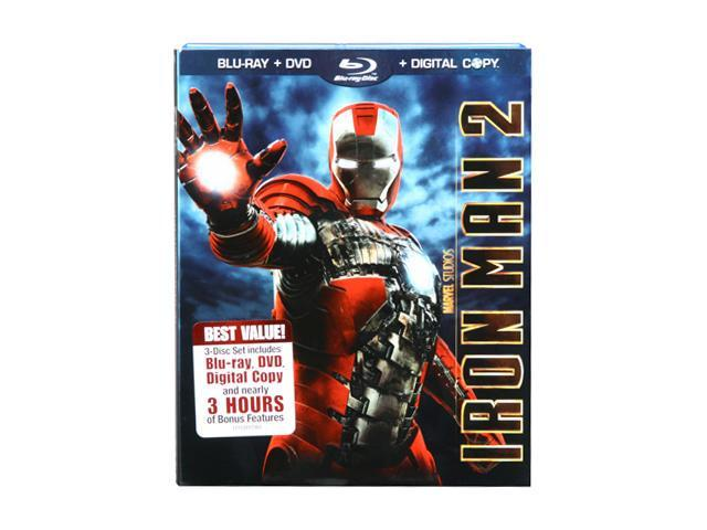Iron Man 2 (3-disc Digital Copy Combo Pack) (Blu-ray / DVD / 2010 / Dubbed / WS) Robert Downey Jr., Mickey Rourke, Don Cheadle, Scarlett Johansson, Samuel L. Jackson