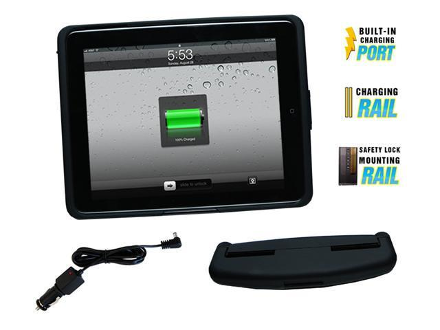 iPad 1 Power Charging Case and Head Rest Mount, with Car Charger, Rubber Black Finish