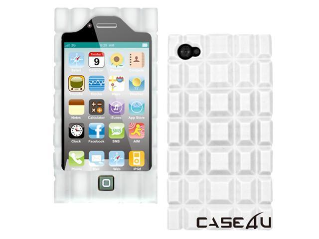 [CASE4U] iPhone-4 Silicon case- White (Chocolate style)+ Screen Protector Skin + Anti-dust cap + Wrap