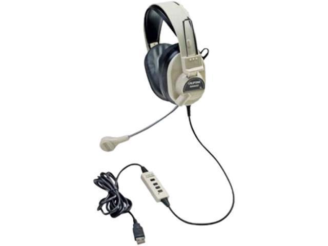 Califone Deluxe Stereo Headph  W Boom Mic Usb Via Ergoguys