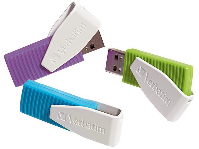 Verbatim 8GB Store 'n' Go Swivel USB Drive 8GB 3PK - Blue/Green/Violet Model 98426