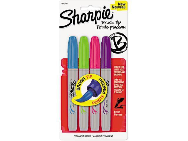 Sharpie 1810702 ,Permanent Marker, Brush Tip, Assorted, 4/Set