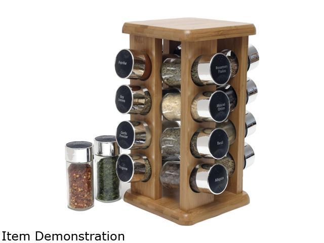 Bamboo 16 Bottle Filled Spice Rack in Color Box