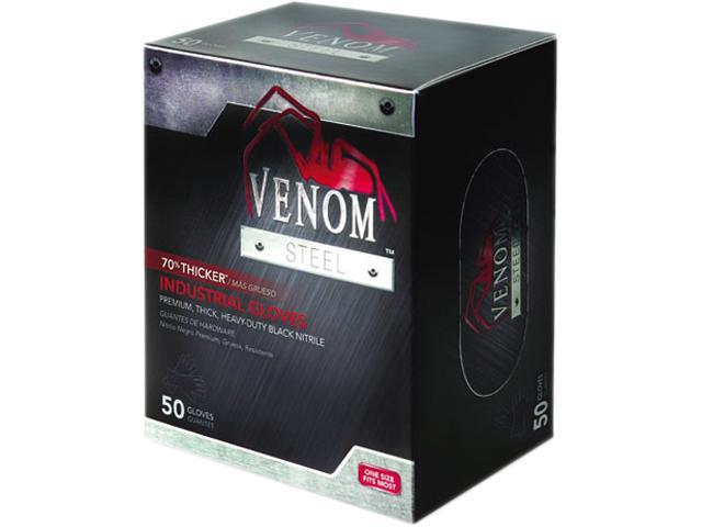 Medline VEN6045 Venom Steel Industrial Nitrile Gloves, X-Large, Black, Powder-Free, 50/Box