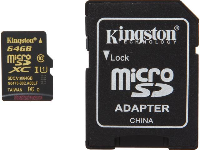 Kingston 64GB microSDXC Flash Card Model SDCA10/64GBCR