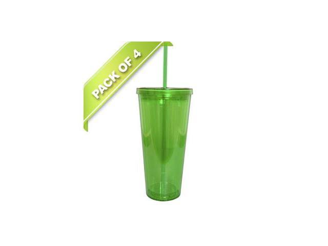 4-Pack Combo - BPA-Free 20-Ounces Acrylic Tumbler with Straw, Double Wall