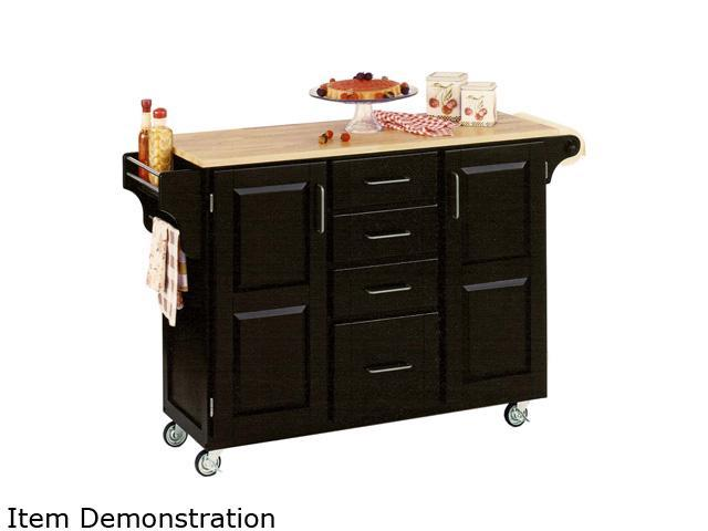 Home Styles 9100-1041 Create-a-Cart Black Kitchen Cart with Natural Wood Top