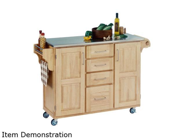 Home Styles 9100-1012 Create-a-Cart Natural Wood Kitchen Cart with Stainless Steel Top