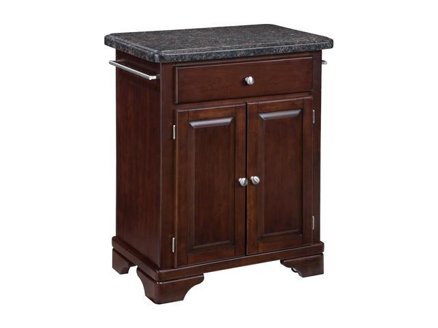 Kitchen Cart with Salmon Granite Top on Cherry Cabinet - by Home Styles