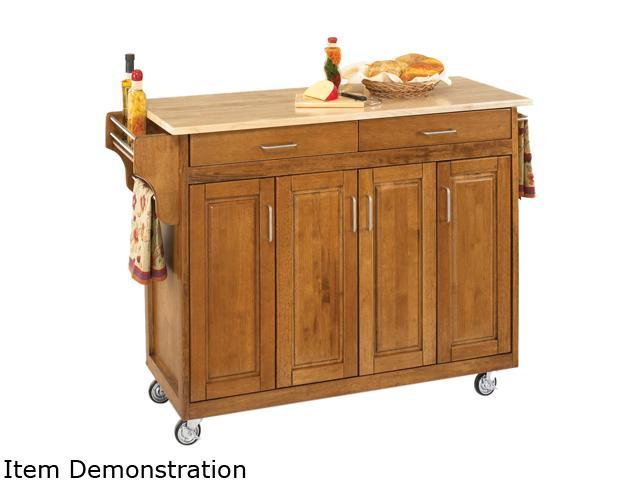 Home Styles 9200-1061 Create-a-Cart Cottage Oak Kitchen Cart with Natural Wood Top - OEM