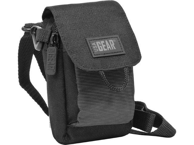 USA GEAR Compact Video Camera Carrying Bag with Detachable Shoulder Strap , Accessory Pocket & Scratch-Resistant Interior Lining - Works With FLIP Video , Ultra , MinoHD & More Pocket Video Camcorders