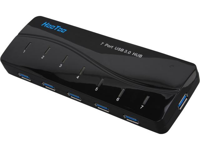 HooToo HT-UH006 Compact SuperSpeed USB 3.0 7-Port Hub w/ Latest VIA VL812 Chipset, 5V/3A Power Adapter, USB 3.0 Cable