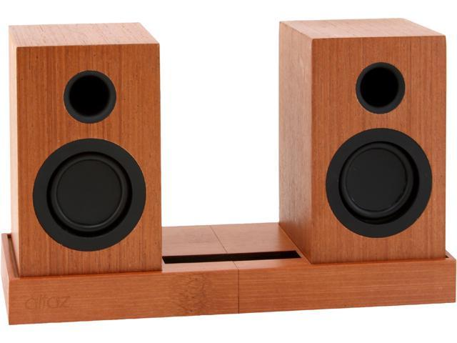 ALTAZ Micro-Fi natural wood Bluetooth speakers with stand
