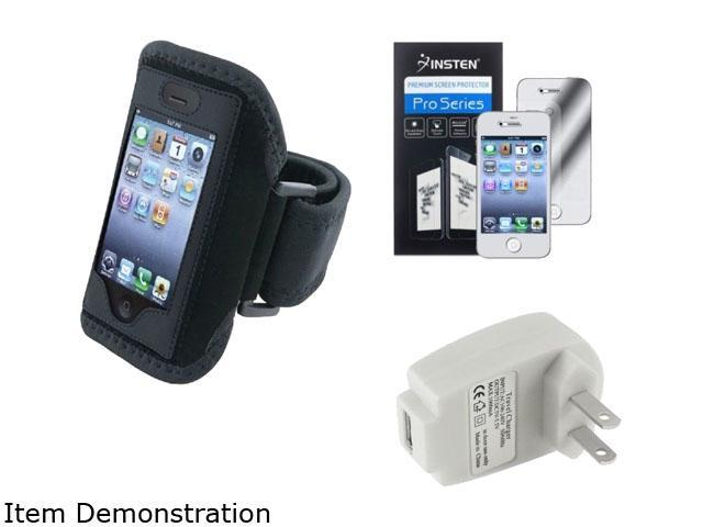 Insten 1 x Deluxe ArmBand , 1 x USB Travel Charger Adapter for Apple iPhone 4 / 4S, with Mirror Screen Protector