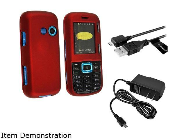 Red Snap-On Rubberized Case + Home Wall Travel Charger + USB Data Charging Cable compatible with LG Cosmos Vn250