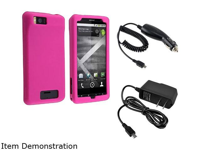 Motorola Droid X Silicone Soft Skin (Hot Pink) + Car + Travel Charger Adapter
