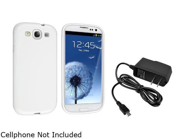 White TPU Rubber Case + 1 Travel/Wall Charger compatible with Galaxy S III i9300
