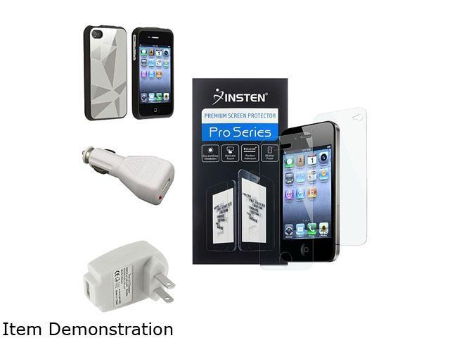Silver Aluminum Flake Hard Case+Guard+Car+Home Charger for iPhone® 4 4S G