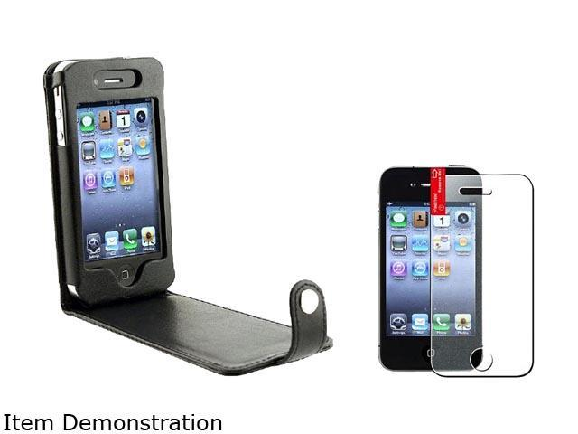 Black Leather Case/Fastener Cover+Diamond LCD Protector Compatible With iPhone® 4 s 4s th 4 G
