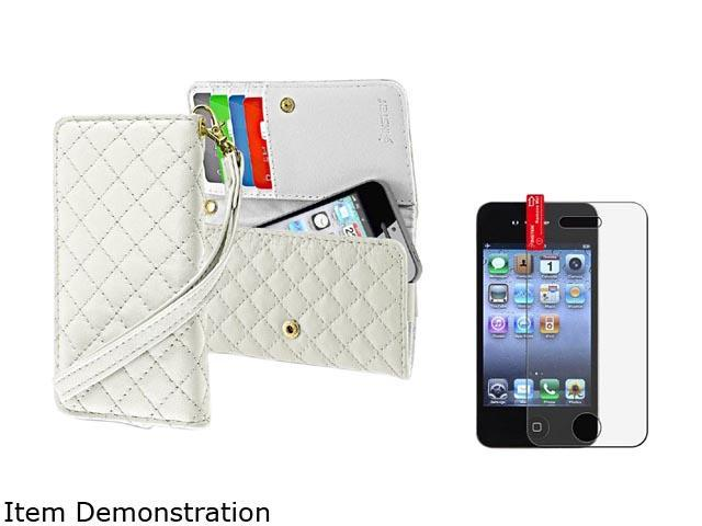 White Wallet Leather Pouch Case Cover+Anti Glare LCD Protector Compatible With iPhone® 4 4S
