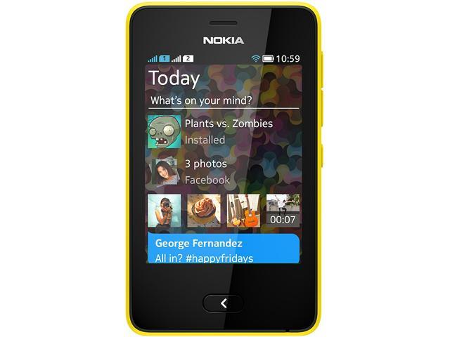 Nokia Asha 501 Yellow Touch Screen 3.15 MP Camera Bluetooth Unlocked GSM Cell Phone