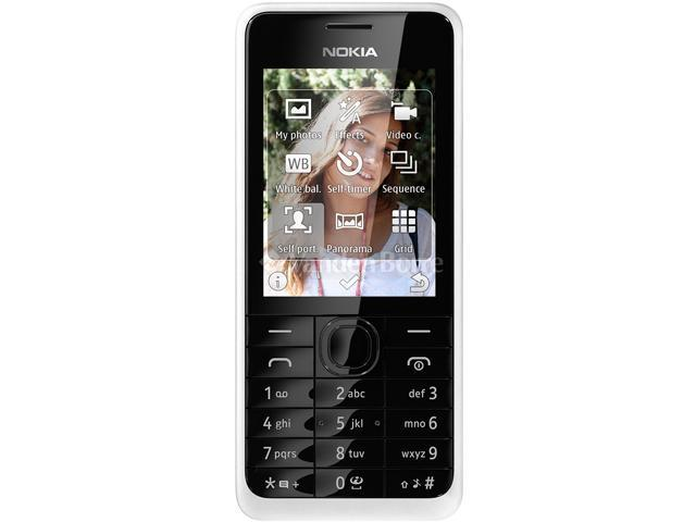 Nokia 301 White 3.15 MP Camera Stereo FM Radio Bluetooth Unlocked GSM Cell Phone
