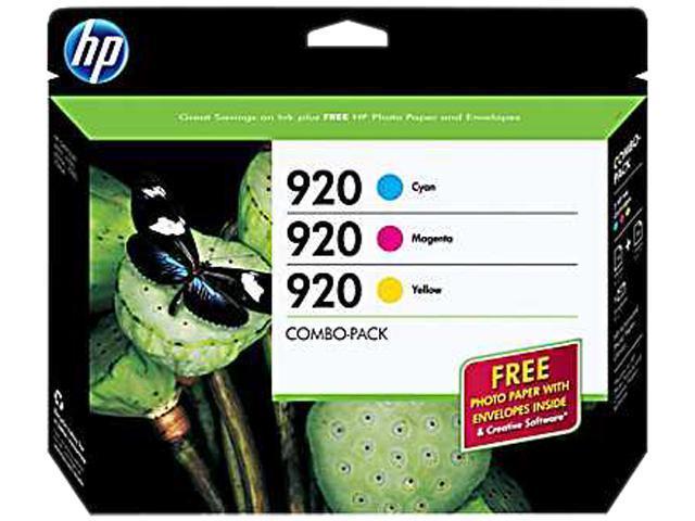 HP 920 (B3B30FN#140) Ink Cartridge 300 Page Yield;  Cyan, Magenta, Yellow