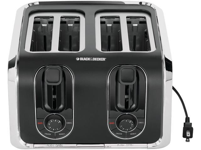BLACK&DECKER TR1400SB 4-Slice Toaster, Black/Silver