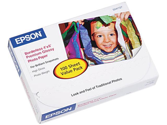 """Epson S041727 Premium Photo Paper 4"""" x 6"""" - High Gloss - 92 Brightness - 100 / Pack - White"""