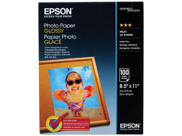 Epson S041271 Glossy Photo Paper, 52 lbs, Glossy, 8-1/2 x 11, 100 Sheets/Pack