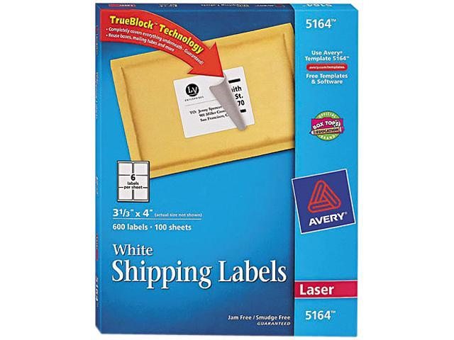 Shipping Labels w/Ultrahold Ad & Block Laser 3 1/3 x 4 White 600/Box