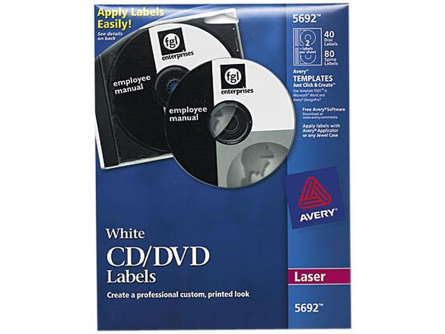 Avery White CD Labels for Laser Printers (Includes 40 Disc Labels and 80 Jewel Case Spine Inserts)